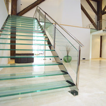 Safety Glass Rails Steel Stringer Stairs With Glass Step PR-L142 - 副本