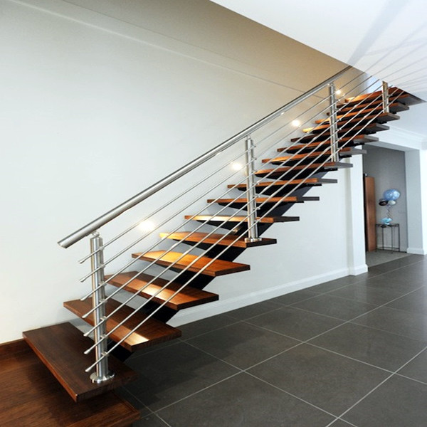 Modern Style Indoor Straight Staircase Design / Stainless