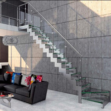 Project Straight Run Steel Beam Glass Tread Stairs​