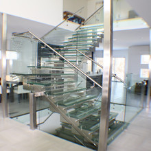 Modern design elegant Laminated Glass Stair Staircase design PR-L120