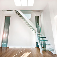 Modern villa stair design Space Saving Indoor glass Loft Stairs PR-L42