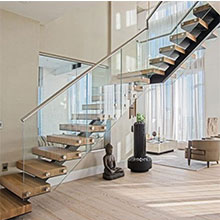 Manufactured Modern Mono Stringer Steel Staircase with Glass Railing PR-L49