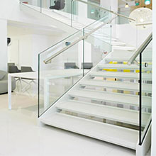 Double Stringer Customized Frosted Glass  Railing  l shape Straight Staircase PR-L110