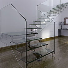 Indoor prefabricated glass stairs / glass staircase prices PR-L149