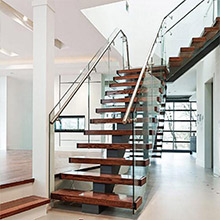 Manufactured  Mono Stringer Steel Staircase with Glass Railing PR-L360