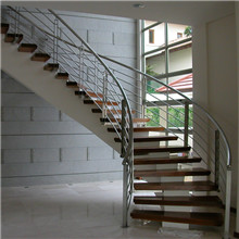 Acacia Wood Steps Curved Stair With Stainless Steel Railing Design PR-C05