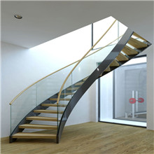 Luxurious Stainless Steel Marble Curved Staircase Design PR-C01