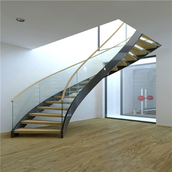 Luxurious Stainless Steel Marble Curved Staircase Design