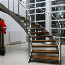 Frameless Glass Balustrade Solid Wood Steps Curved Stair PR-C13