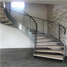 Single Side Stainless Steel Bar Balustrade For Wooden Curved Staircase PR-C15