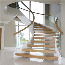 304 Stainless Steel Stringer Curved Staircase Design PR-C16