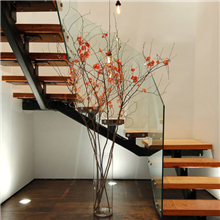 Interior Frameless Glass Railing Design For U - Shape Steel Wood Staircase