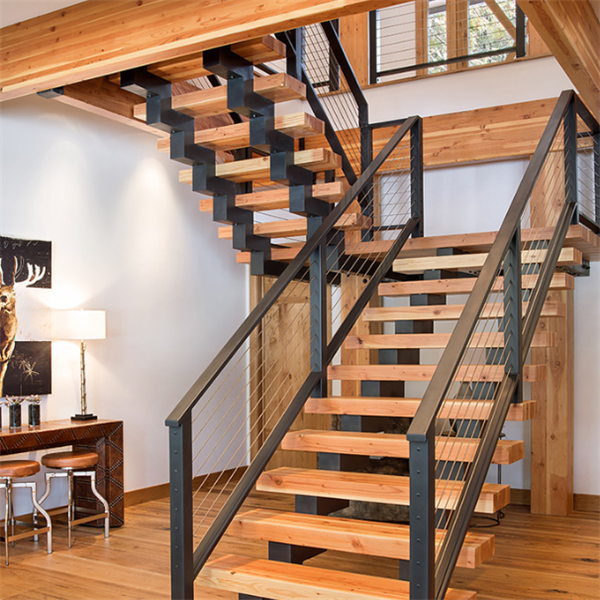 Single Stringer Stairs U Shaped Staircase With Wooden