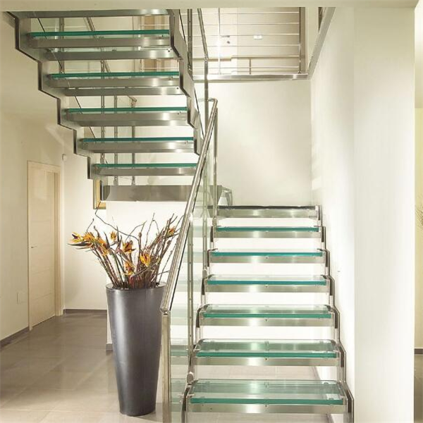 U Shaped Stair Design Prefab Stairs With Glass Tread