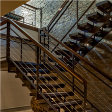 High Grade U shape straight staircase glass balustrade stairs