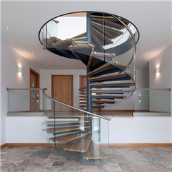 Modern Staircase Design Used Open Spiral Steel Staircase Price With Solid Timber Stair Steps
