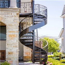 Modern Outdoor Wrought Iron Railing Metal Spiral Stair