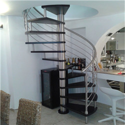 Black Walnut Wood Tread Spiral Staircase For Villa