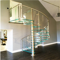Tempered Glass Spiral Staircase Indoor Glass Railing Price