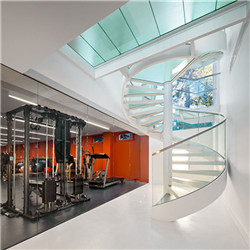 Residential Glass Spiral Staircase With Glass Railing