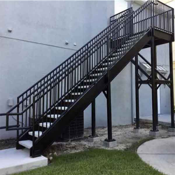Outdoor Floating Stairs Florida Project: Industrail Exterior Iron Steel Straight Staircase With